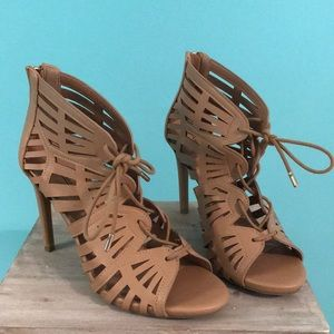 Tan Lace-up Heels